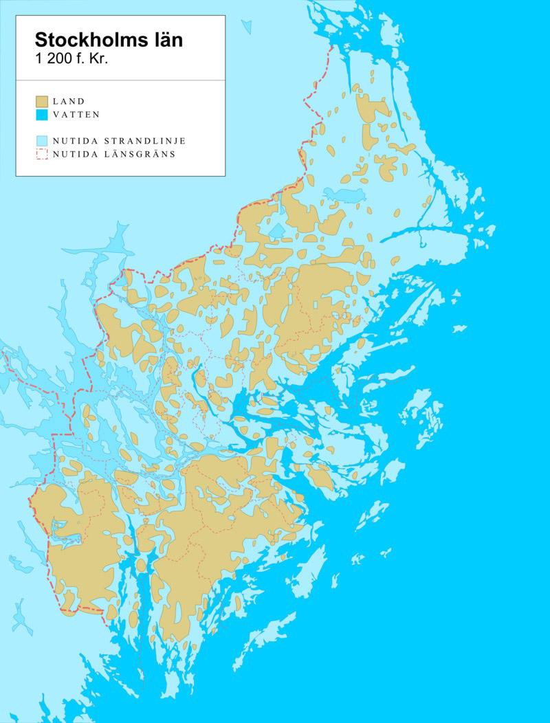 Karta över Stockholms län 1200 f.kr.